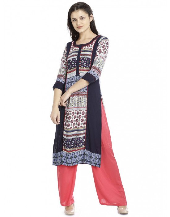 Minelli Round Neck Fabric Printed Kurtis for Women