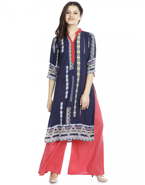 Minelli Casual Long Printed Kurtis for Women