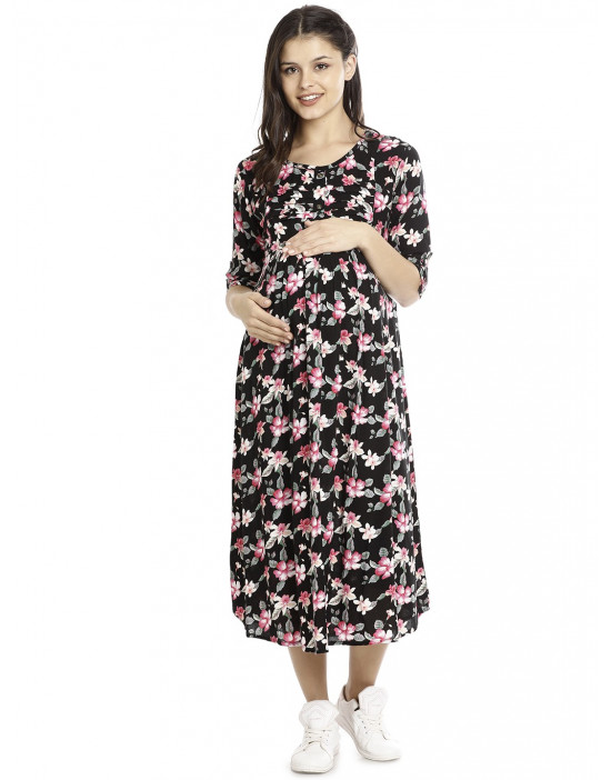 Minelli Long Maternity/Nursing Cotton Gown for Women