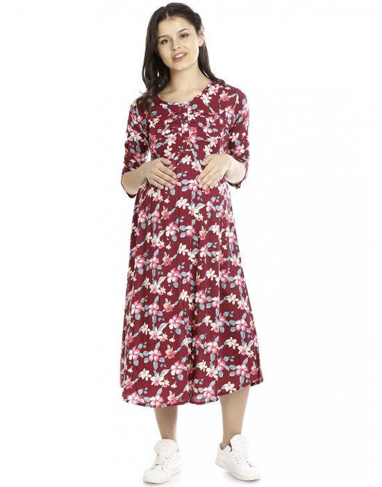 Minelli Pre & Post Nursing Cotton Gown for Women