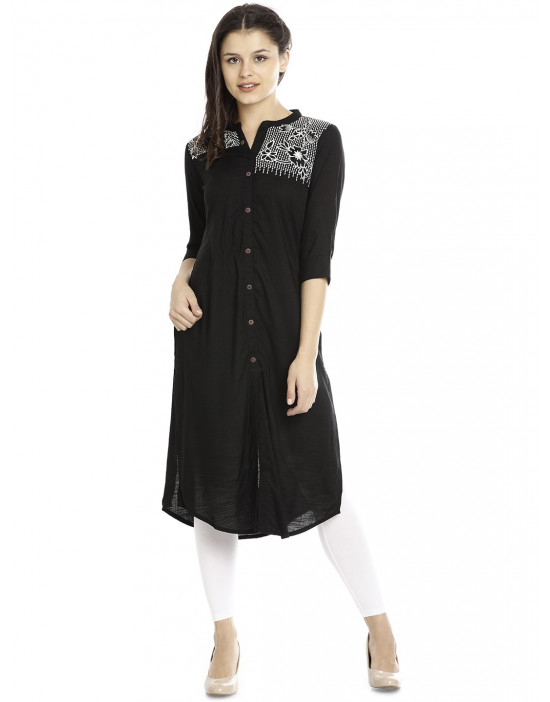 Minelli Sweetheart Neck Long Printed Kurti for Women
