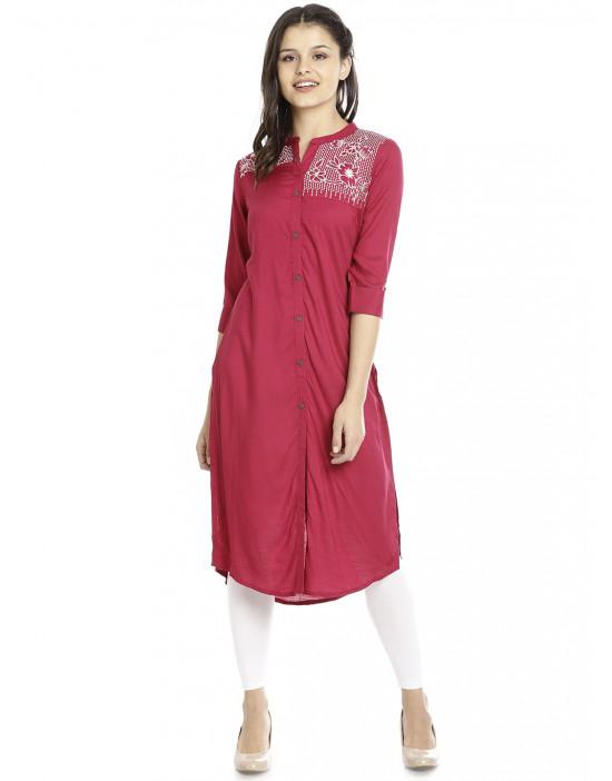 Minelli Rayon Cotton Long Printed Kurti for Women
