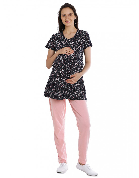 Maternity/Feeding/Nursing Top and Pyjama Set Loungewear