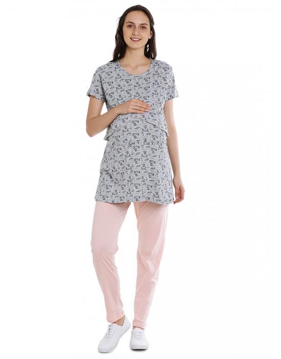 Maternity/Feeding/Nursing Top and Pyjama Set Loungewear