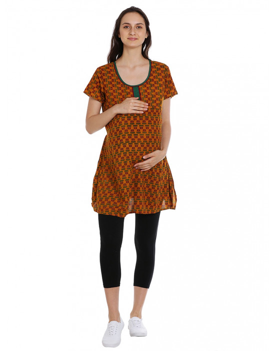 Short Nursing Kurti with Concealed Zipper and extra Layer