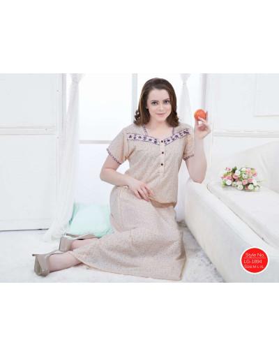 Minelli V-Neck Short Sleeve Fabric Cotton Nightwear