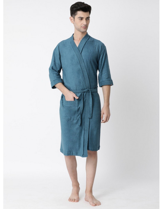 Men's Turkish Cotton Plain Bathrobe