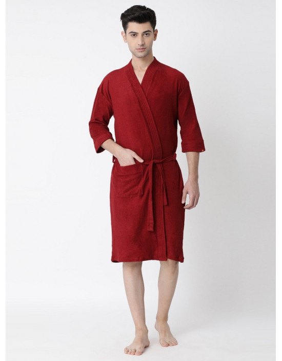 Men's Turkish Plain Bathrobe With Loop Belt & Pocket