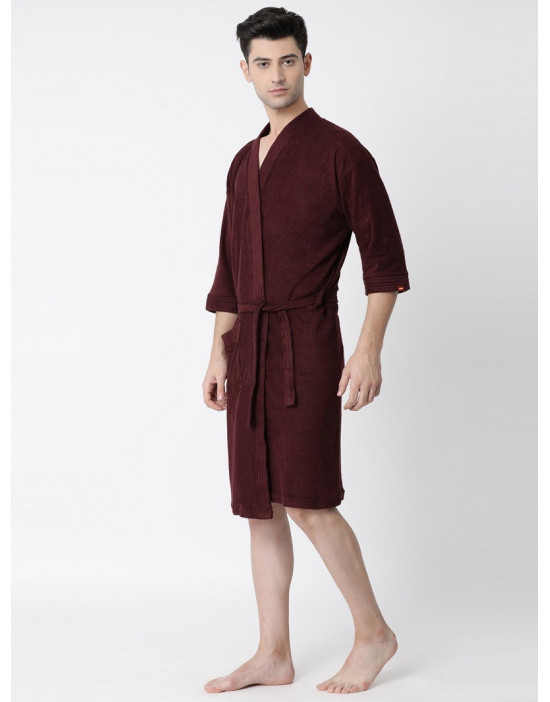 Mens Turkish Cotton Plain Bathrobe