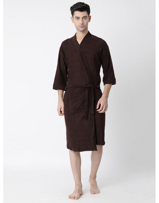 Men's Turkish Cotton Plain Bathrobe Loop Belt With Pocket