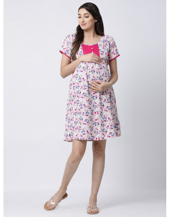 Minelli Women Knee Length Rayon Fabric Maternity/Nursing/Feeding Kurti