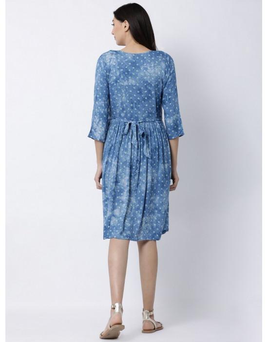 Minelli Women Sweet Heart Neck Rayon Fabric Maternity/Nursing/Feeding Gown