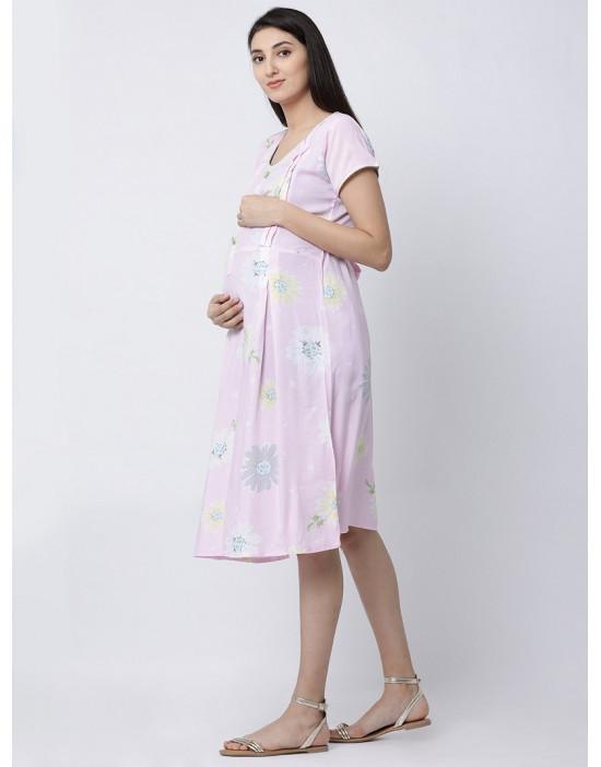 Women Short Sleeve Rayon Fabric Maternity/Nursing/Feeding Gown