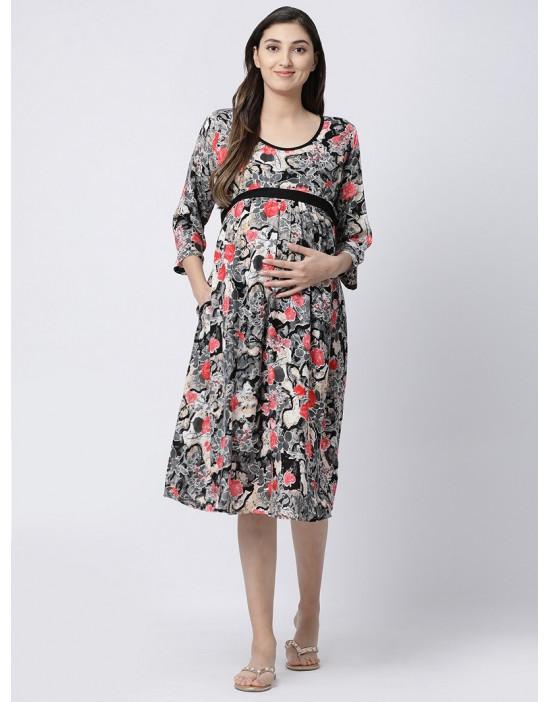 Women Round Neck Rayon Fabric Nursing/Feeding/Maternity Gown