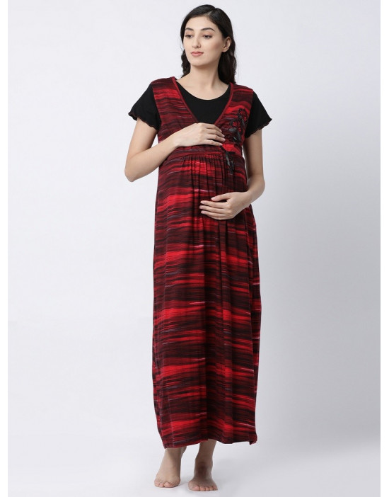 Women Hosiery-Sinker Fabric Maternity/Nursing/Feeding Long Gown