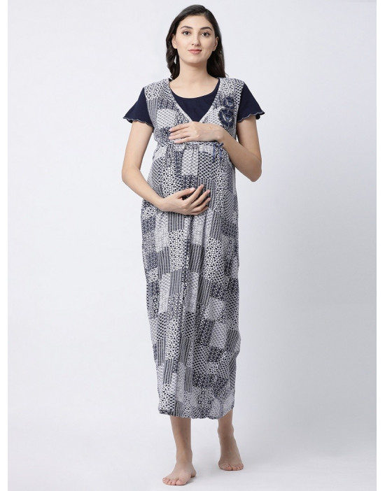 Women Short Sleeve Sinker Fabric Maternity/Nursing/Feeding Long Gown