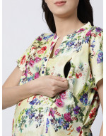 Woman Rayon Fabric Maternity/Nursing/Feeding Long Gown