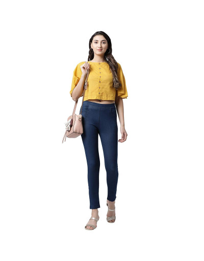 Womens Cotton Denim Jegging with Elastic Waistband