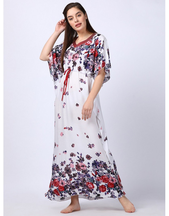 Minelli Women Printed Kaftan White Dress
