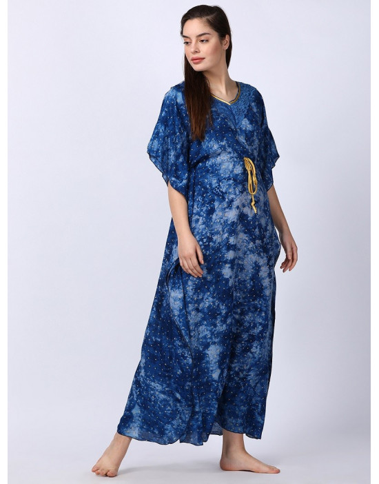 Minelli Women Printed Kaftan Blue Dress
