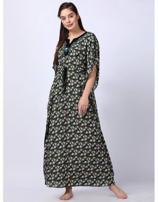 Minelli Women Printed Kaftan Green Dress
