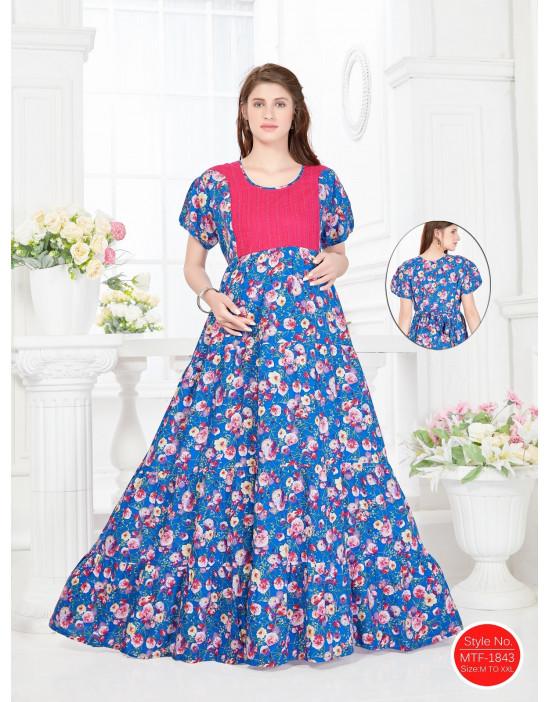 Minelli Women Long Length Rayon Fabric Maternity/Nursing/Feeding Gown