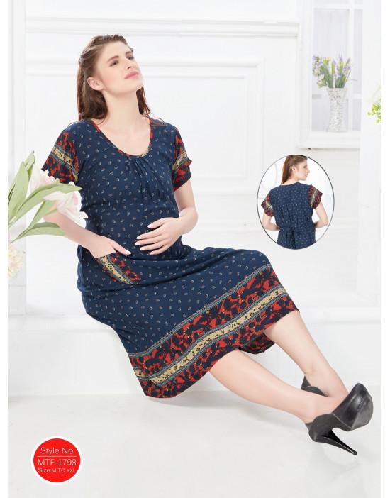 Minelli Women's Rayon Fabric Maternity/Nursing/Feeding Gown