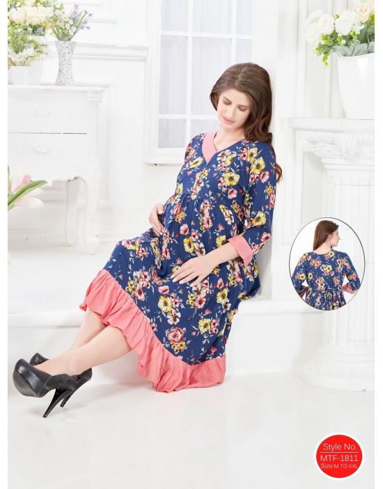Minelli Women's V-Neck Rayon Fabric Maternity/Nursing/Feeding Gown