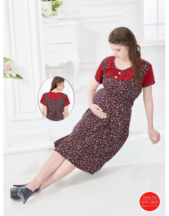 Minelli Women's Round Neck Rayon Fabric Maternity/Nursing/Feeding Gown