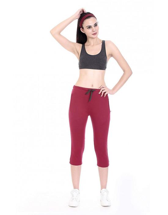 Women Plain Cotton Yoga/Sports/Lounge Capri