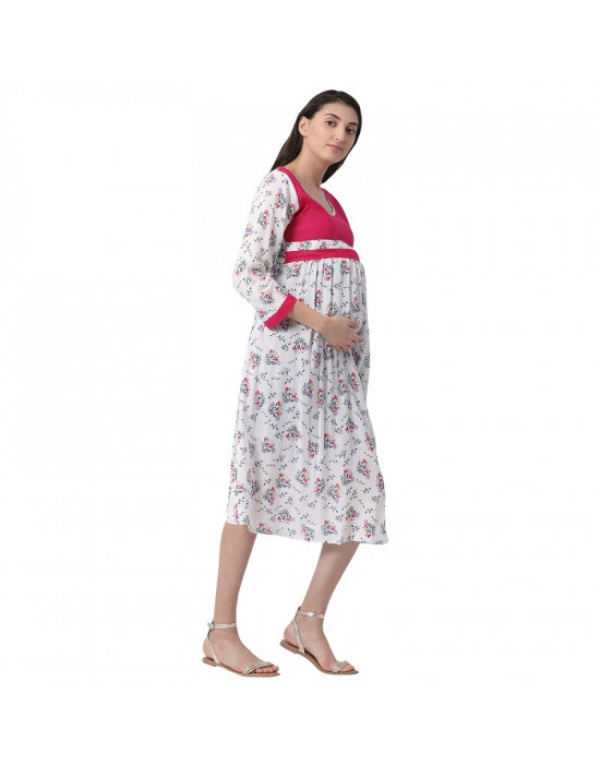 Minelli Women's Calf Length Rayon Fabric Maternity/Nursing/Feeding Gown