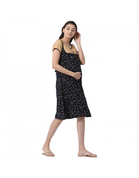inelli Women's Calf Length Rayon Fabric Maternity/Nursing/Feeding Gown
