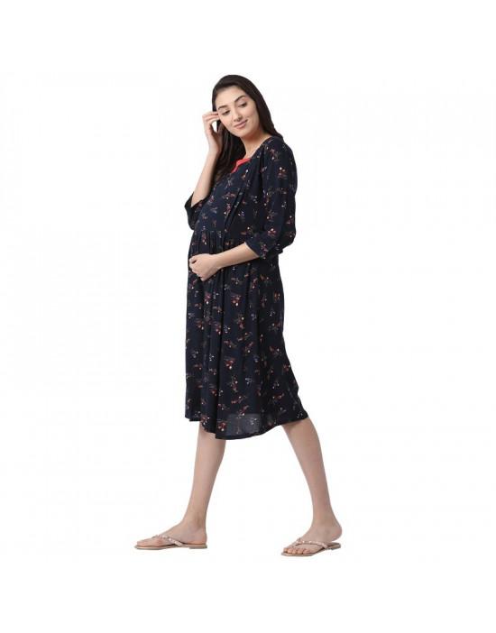 Minelli Women's Calf Length Rayon Fabric Maternity/Nursing/Feeding Gown