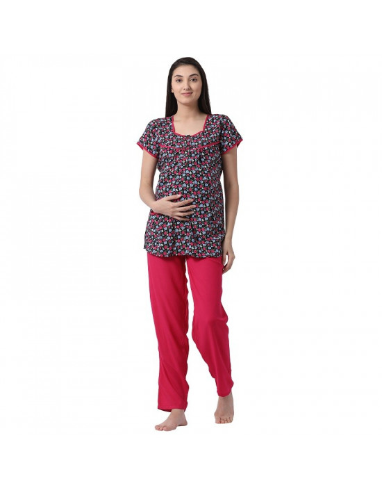 Women's Rayon Fabric Maternity/Feeding/Nursing Top and Pyjama Set Loungewear