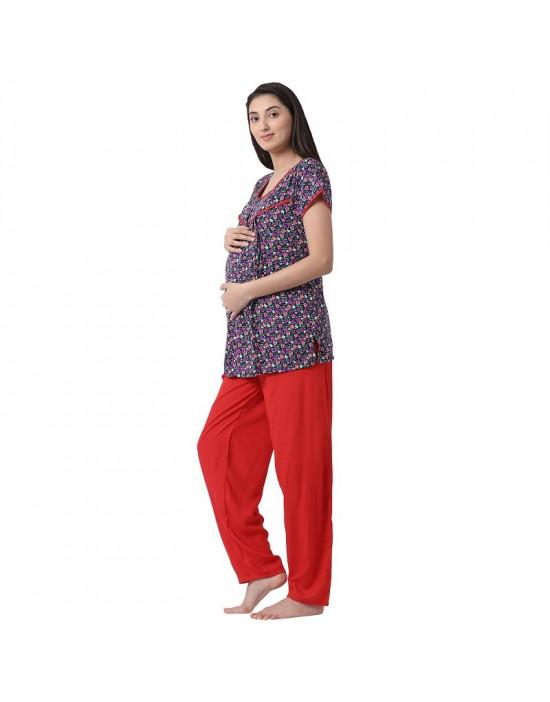 Women's Rayon Fabric Maternity/Feeding/Nursing Top and Pyjama Set Loungewear