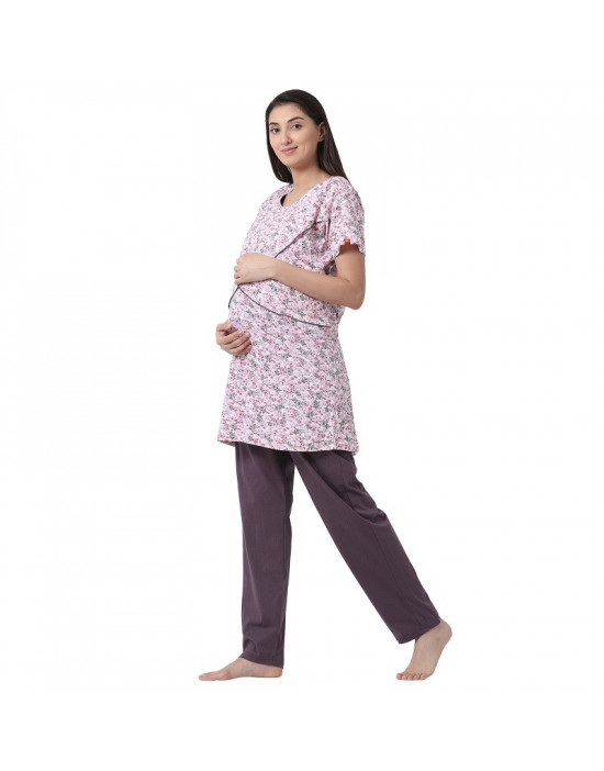 Womens Hosiery Fabric Maternity/Feeding/Nursing Top and Pyjama Set Loungewear
