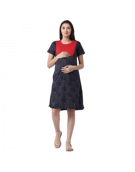 Minelli Women Hosiery Fabric Maternity/Nursing/Feeding Gown