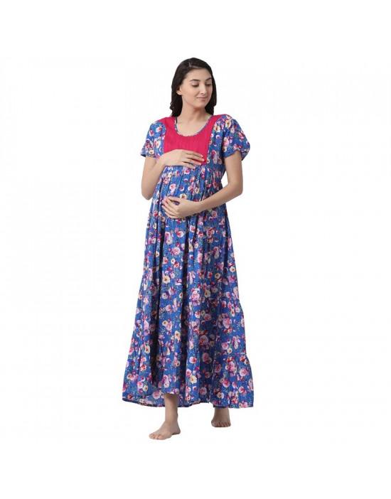 Minelli Women's Full Length Rayon Fabric Maternity/Nursing/Feeding Gown