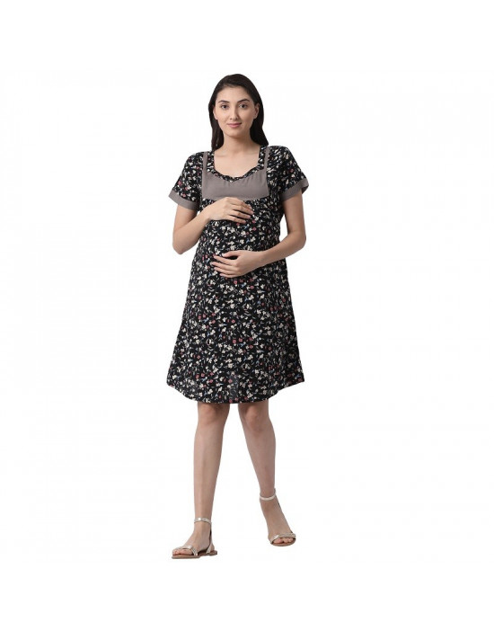 Minelli Women's Knee Length Rayon Fabric Maternity/Nursing/Feeding Kurti