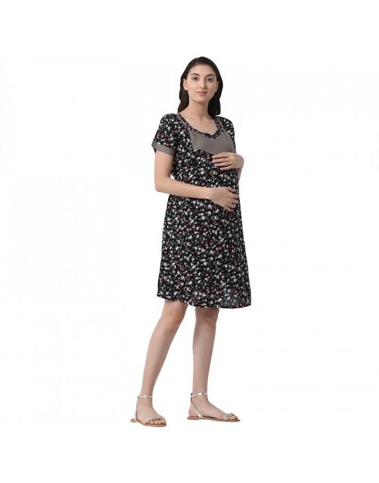 Minelli Women's Knee Length Rayon Fabric Maternity/Nursing/Feeding Kurti