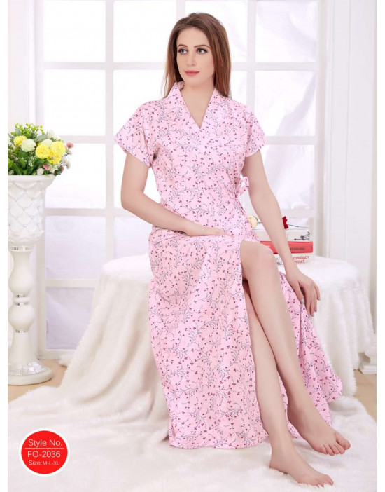 Minelli Women's Cotton Fabric Front Button Open Night Gown
