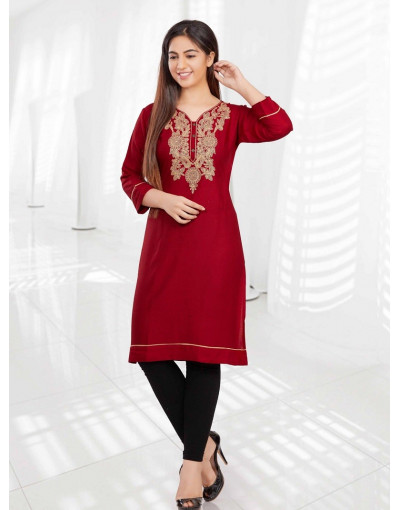 Minelli 3/4 Sleeve and Embroidery Neckline Rayon Fabric Kurti