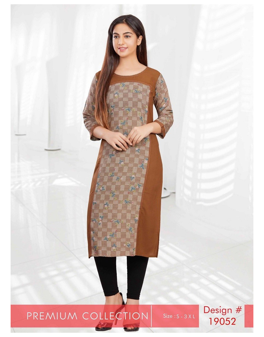 Minelli 3/4 Sleeve and Round Neck Rayon Fabric Kurti