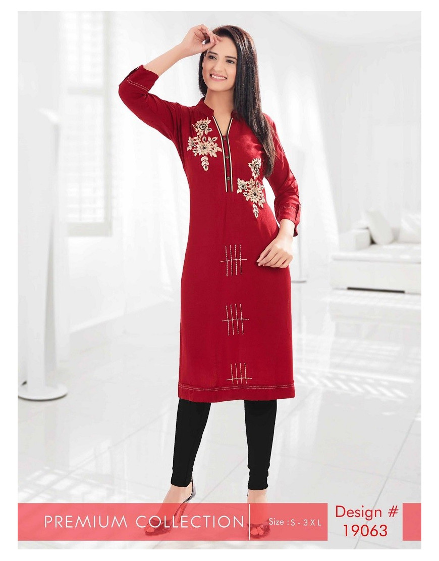Minelli 3/4 Sleeve and Sweetheart Neck Rayon Fabric Kurti