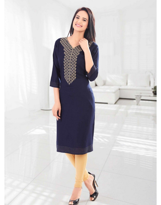 Minelli 3/4 Sleeve and V-Neck Rayon Fabric Kurti
