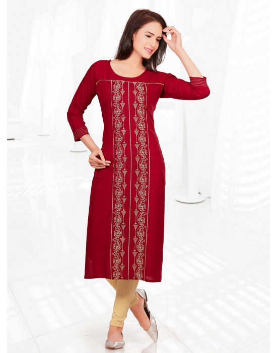 Minelli 3/4 Sleeve and Round Neck Rayon Fabric Kurti