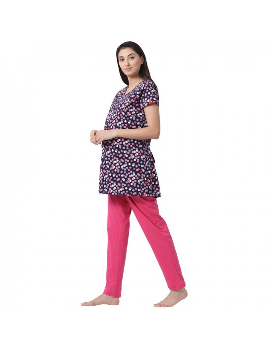 Womens Hosiery Fabric Maternity Top with Free Maternity Pant