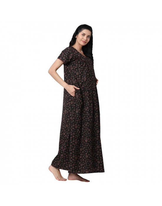 Minelli Women's Cotton Fabric Front Button Open Night Gown Black