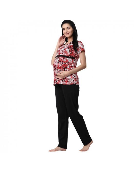 Minelli Women's Hosiery Fabric Maternity/Feeding/Nursing Top and Bottom Set Red