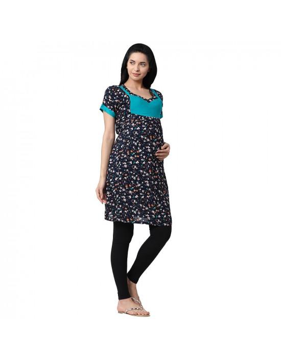 Minelli Wome's Rayon Fabric Maternity/Feeding/Nursing Kurti Pink